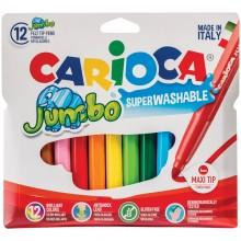 Фломастеры Carioca Jumbo, 18цв., утолщенные, смываемые, картон, европодвес