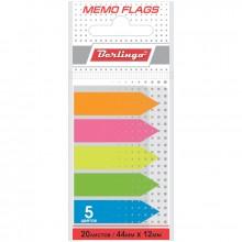 Флажки-закладки Berlingo, 44*12мм, 20л*5 неоновых цветов