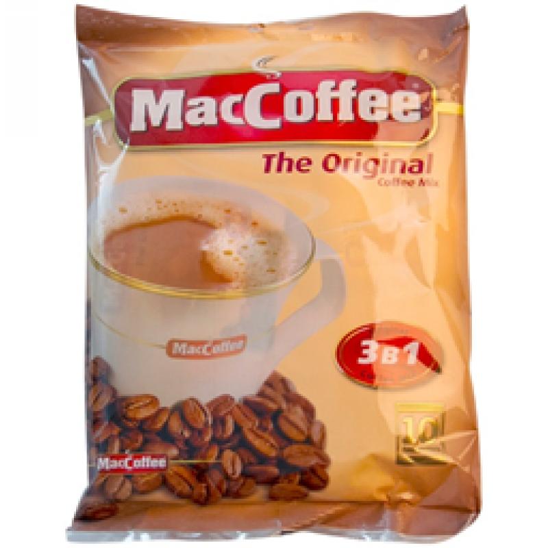 """Кофе растворимый MacCoffee """"Strong"""" 3 в 1, порционный, 10 пакетиков*16г, пакет"""
