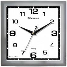 Часы настенные, пластик, квадратные, серебро, большие