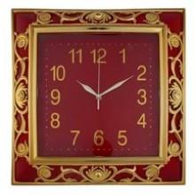 Часы настенные, деревянные, квадратные, бордо, большие