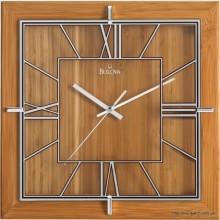 Часы настенные, деревянные, квадратные, светло-коричневые, большие