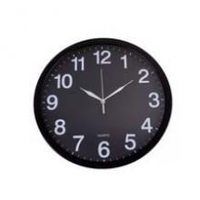 Часы настенные, пластик, круглые, черно- белые, большие