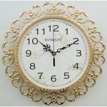Часы настенные, пластик, круглые, золото, большие, белый фон