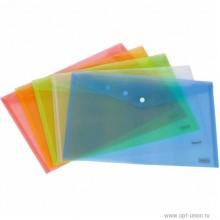 Папка на резинках, А4, пластик, полу прозрачный, ассорти, DELI