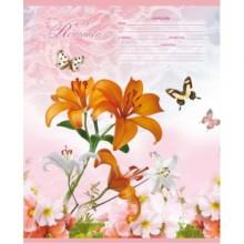 Тетрадь А5, 18л., линия, Цветы и Бабочки