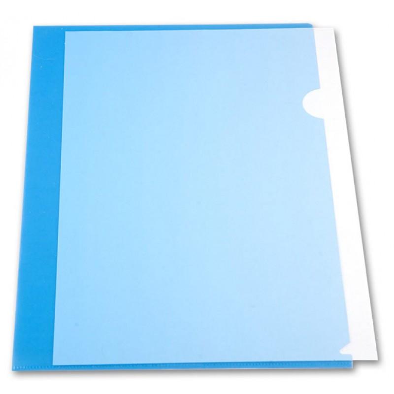 Уголок пластиковый с 2-мя внутр. клапанами,  А4, синий прозр.., 0.30мм