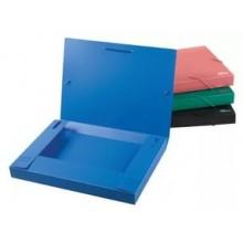 Папка бокс, А4, с расширением, 30 мм. пластик, на резинках, синий, DELI (снято с производства)