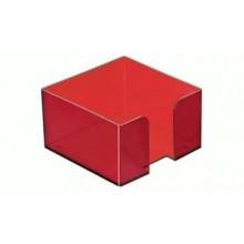 Пластбокс для блока  бумаги для записи 9*9*5,  тёмно-красная вишня, СТАММ