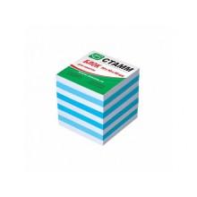Блок бумаги для записи 9*9*5, 2-х цветн, голубой, СТАММ
