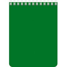 Блокнот, А7, 40л.,клетка, на гребне, пластик. обложка, зелёный. SPONSOR