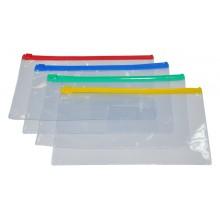Папка на молнии, А5,  250*180мм, 0.18мм, матовый прозрачн пластик, DELI
