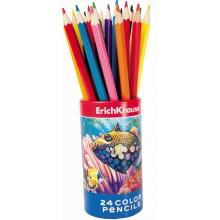 Карандаши цветные, 24 цвета в наборе, картонный тубус, ERICH KRAUSE