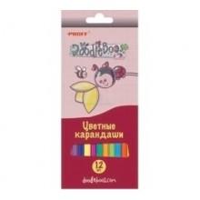 """Карандаши цветные, 6 цв. в наборе, Doodle Boos"""" в картонной коробке с европодвесом"""