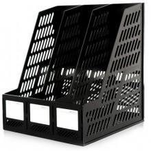 Лоток для бумаг вертикальный, 3-х рядный, пластик, чёрный, DELI