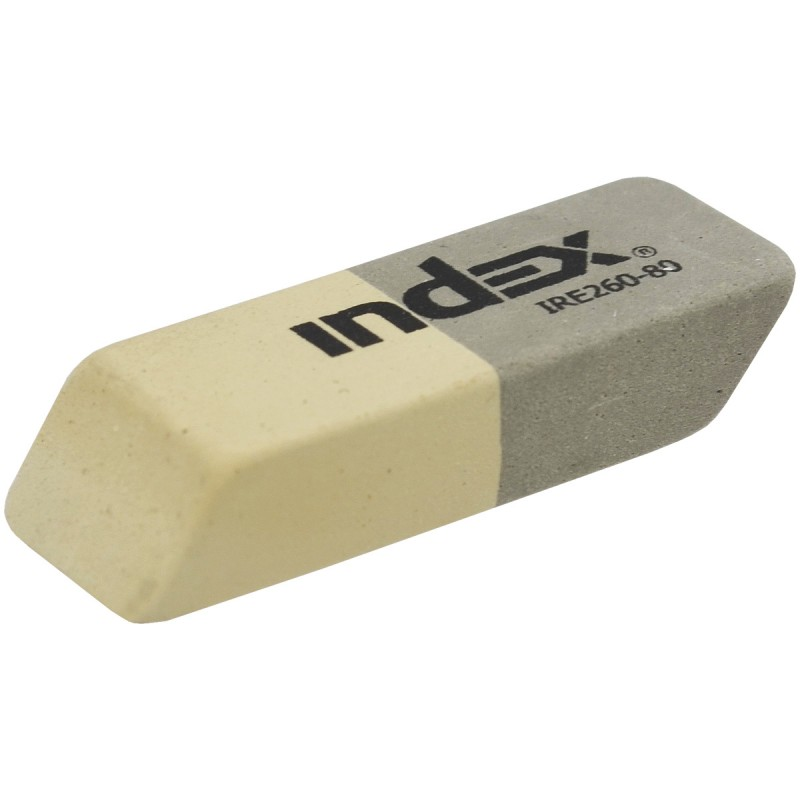 Ластик каучуковый, 14*40*8мм, серо-белый, INDEX