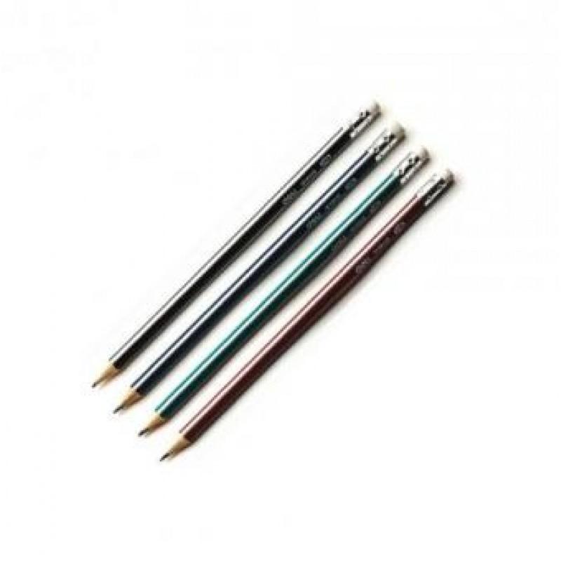 Карандаш простой НВ, с ластиком, заточенный, трехгранный, черный корпус, DELI