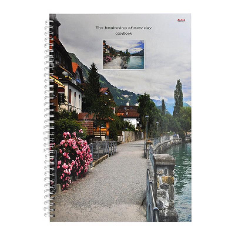 Записная книжка, А4, 100л, гребень, Речная прогулка