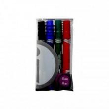 Набор  маркеров перманентных, 4 цв., (син. чёрн. красн. зел.), 1-4мм, пулевидный, с европодвесом