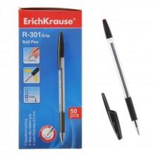 Ручка шариковая R-301 GRIP, чёрный, ERICH KRAUSE, цена за 1 шт, в упак по 50 шт,