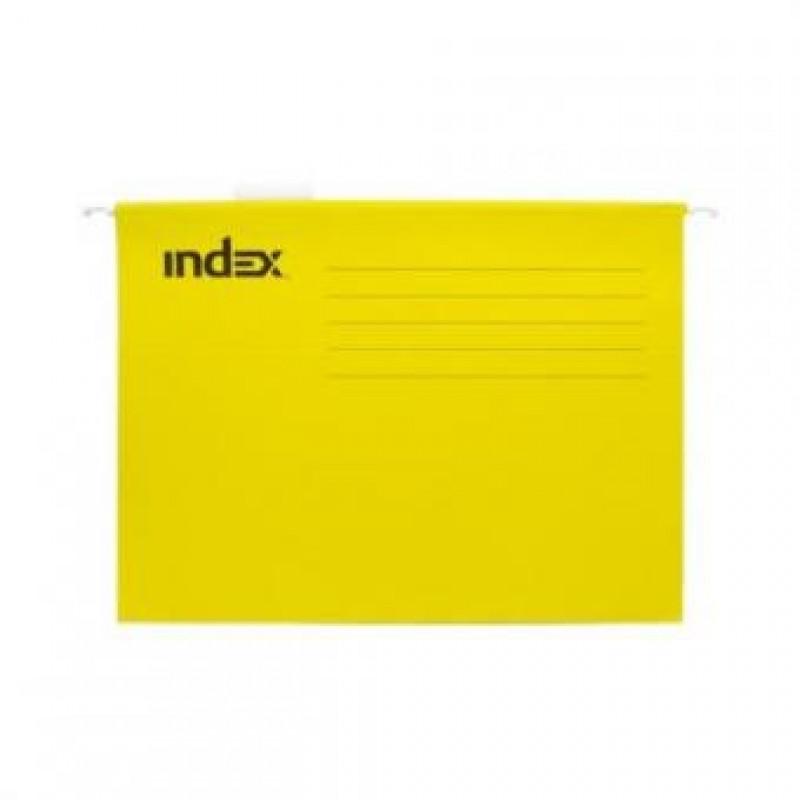 Подвесной файл, А4, жёлтый,с табулятором, INDEX