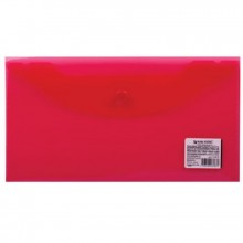 Папка на кнопке, А4, красная полупр., пласт.,  0.20мм