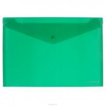 Папка на кнопке, А4, прозрачная, ENVELOPE FOLDER, зеленый, ERICH KRAUSE