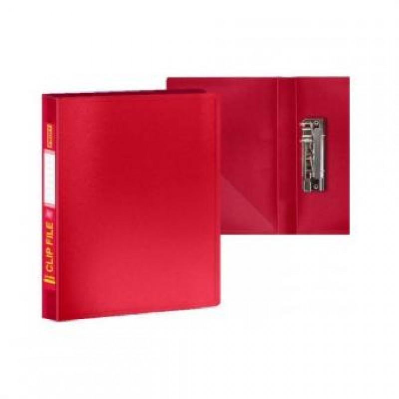Папка с боковым зажимом и внутр. карманом А4, красная,  0,60мм