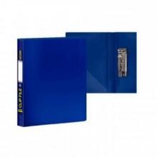 Папка с боковым зажимом и внутр. карманом А4, синяя,  0,60мм