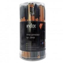 Ручка шариковая,масляная, 0,6мм, чёрная, прозр корпус. INDEX