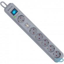 Сетевой фильтр Defender DFS 501-2,0м, 6 розеток, белый,+2USB порта