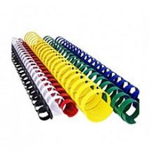 Пружины для переплета пластиковые, 14 мм, цв. синий