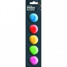 Магниты, диам 30мм, 5шт в наборе, 5 цветов,блистер. INDEX