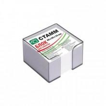 Блок бумаги для записи 9*9*5, белый, в пластбоксе серый