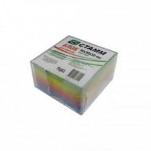 Блок бумаги для записи 9*9*5, цветной, в пластбоксе, прозрачный