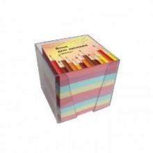 Блок бумаги для записи 9*9*9, цветной, в пластбоксе, kris