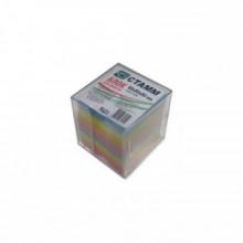 Блок бумаги для записи 9*9*9, цветной, в пластбоксе, прозрачный