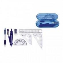 Геометрический набор, 8 предметов, 180*75*25мм, DELI