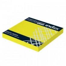 Постики  76х75 мм, 100лист, неоново-жёлтый. INDEX