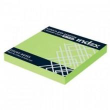 Постики  76х75 мм, 100лист, неоново-зелёный. INDEX