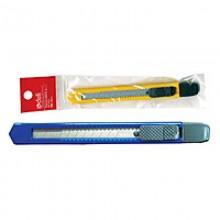 Нож канцелярский, 9мм, длина 80мм, оцинкованный, DELI