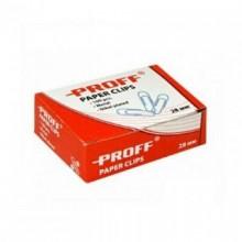 Скрепки канцелярские 25мм, 100 шт, в картонной упаковке, никелированные