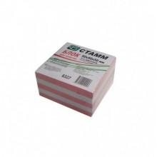 Блок бумаги для записи 9*9*5, 2-х цветн, розовый
