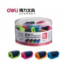 Точилка пластмассовая, с 2 лезвиями, с контейнером, цвет ассорти, DELI