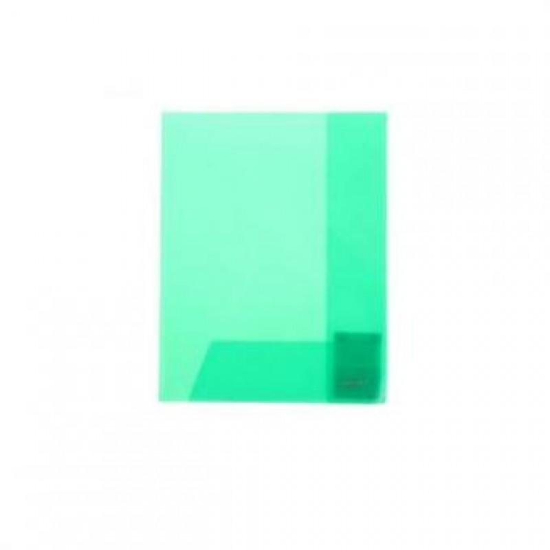 Уголок пластиковый с 2-мя внутр. клапанами,  А4, зелёный прозр.., 0.30мм