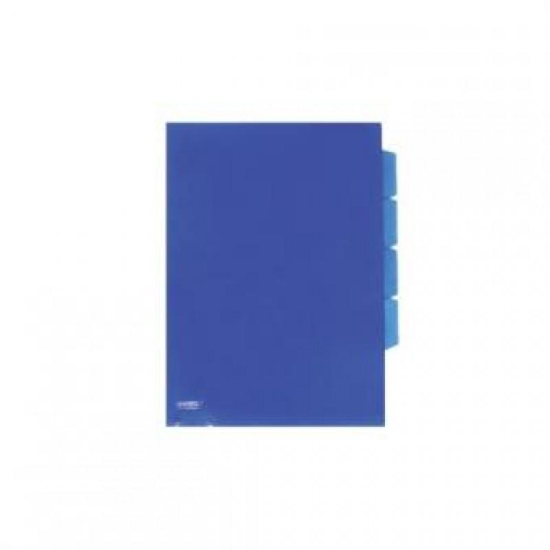 Уголок пластиковый с 3-мя отделениями,  А4, синий прозр., 0.18мм