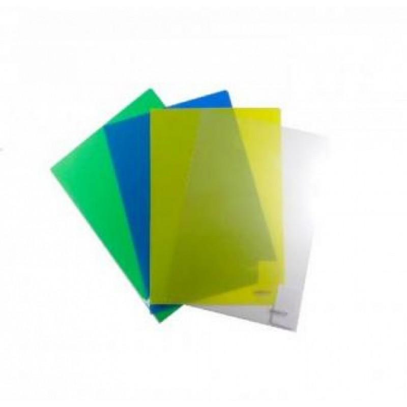 Уголок пластиковый,  А4, синий прозр., 0.16мм