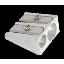 Точилка алюминиевая FERRO PLUS, на два отверствие, серебрянная, ERICH KRAUSE