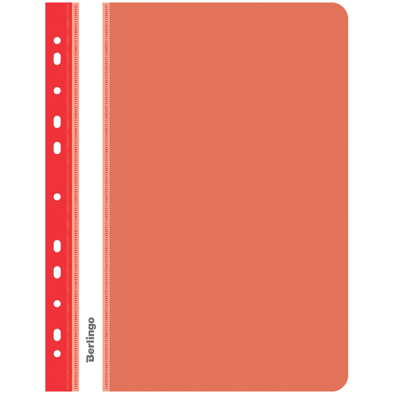 Папка-скоросшиватель пластик. перф. Berlingo, А4, 180мкм, красная