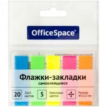 Флажки-закладки OfficeSpace, 45*12мм, 20л*5 неоновых цветов, европодвес (стикеры)